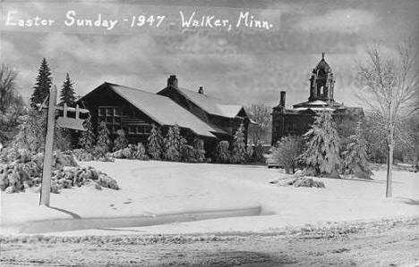 View of Walker Minnesota on Easter Sunday, 1947