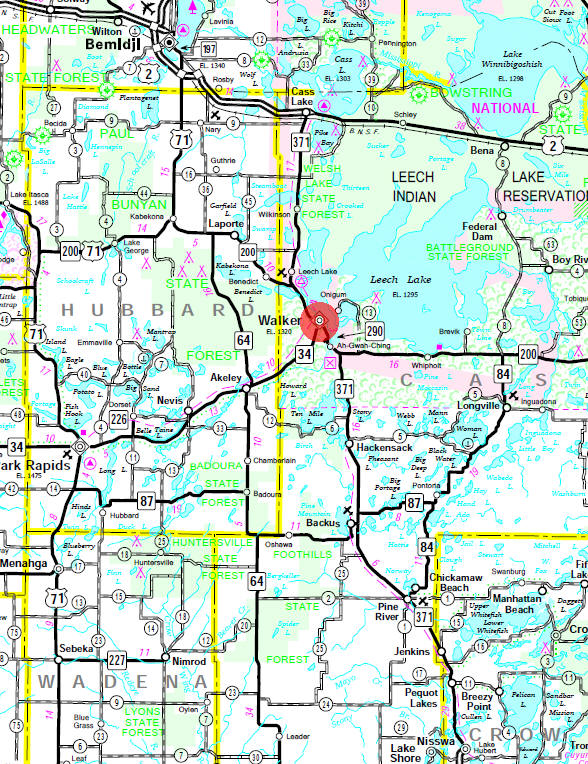 Minnesota State Highway Map of the Walker Minnesota area