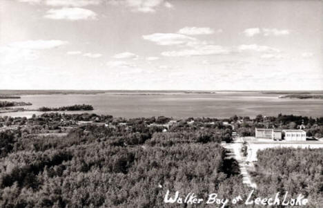 Aerial view, Walker Bay of Leech Lake, 1940's