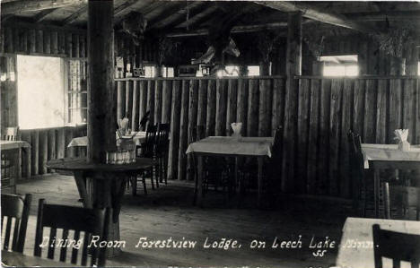 Dining Room, Forestview Lodge on Leech Lake, Walker Minnesota, 1926