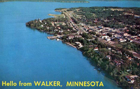 Aerial view of Walker Minnesota, 1959