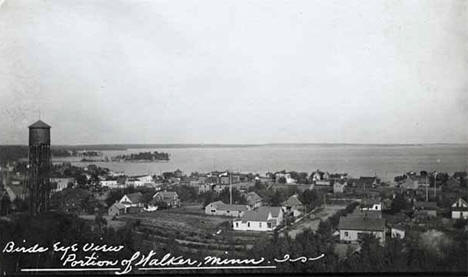 Bird's-eye view of a portion of Walker Minnesota, 1920