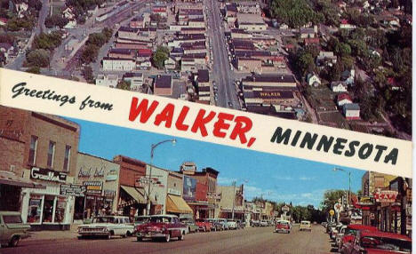 Walker Minnesota postcard, 1960's