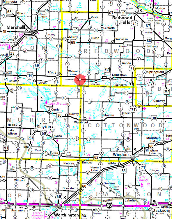 Minnesota State Highway Map of the Walnut Grove Minnesota area