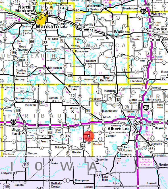 Minnesota State Highway Map of the Walters Minnesota area