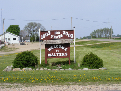 Welcome sign, Walter Minnesota, 2014