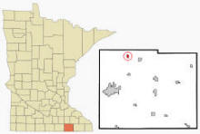 Location of Waltham, Minnesota