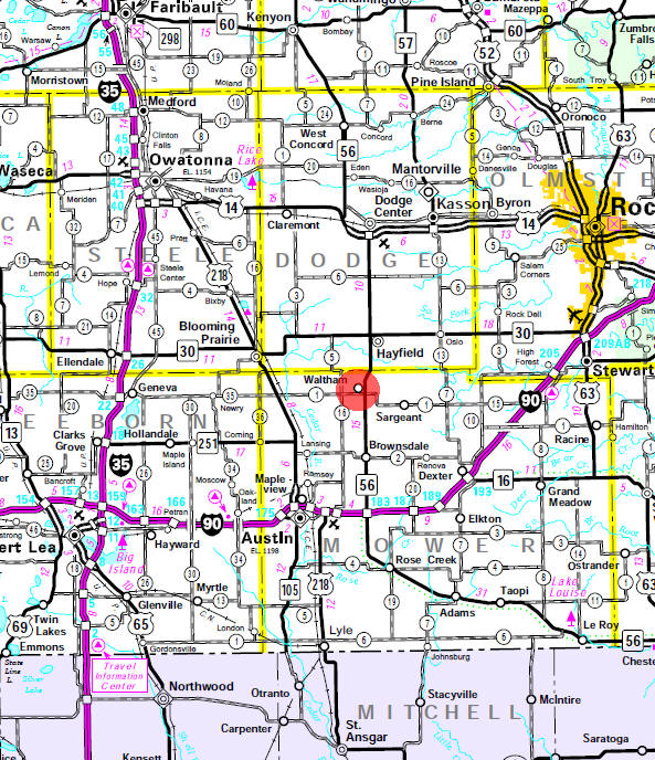 Minnesota State Highway Map of the Waltham Minnesota area