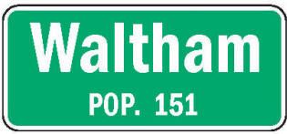 Waltham Minnesota population sign