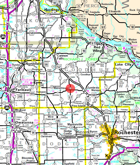 Minnesota State Highway Map of the Wanamingo Minnesota area