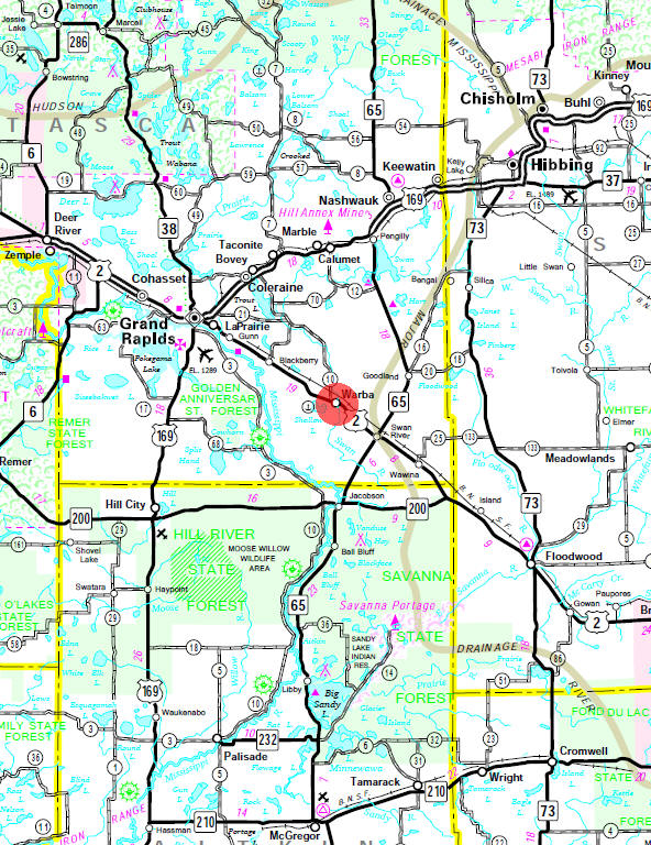 Minnesota State Highway Map of the Warba Minnesota area