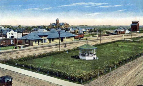 Central Park and Great Northern Depot, Warren Minnesota, 1920's