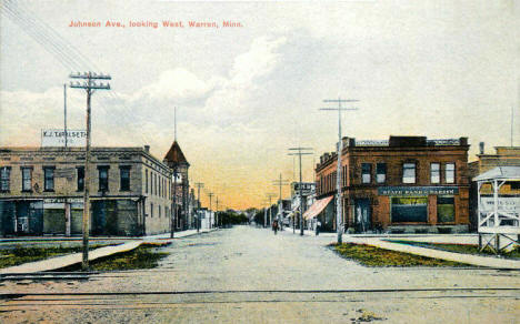Johnson Avenue Looking West, Warren Minnesota, 1912