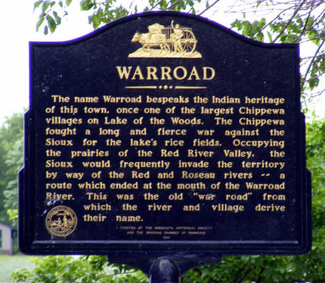 Historical marker, Warroad Minnesota, 2009