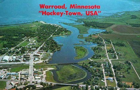 Aerial view, Warroad Minnesota, 1970