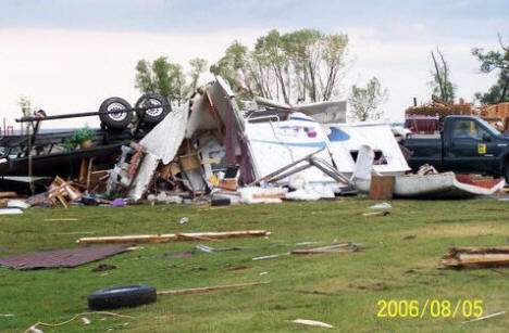 Destroyed campers at the Warroad City Park after tornado, August 5, 2006