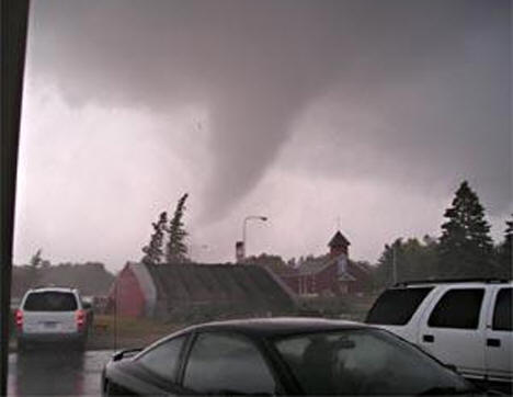 Tornado passing over the Marvin window plant and beach area, August 5, 2006