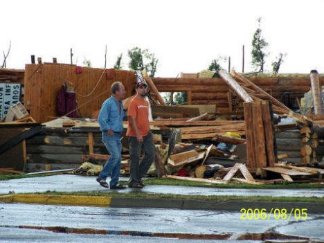 The Trading Post in Warroad Minnesota after the tornado, August 5th, 2006