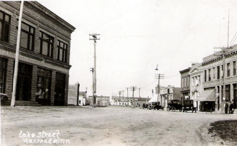 Lake Street, Warroad Minnesota, 1920