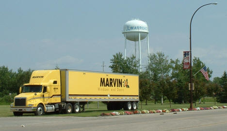 Warroad Minnesota water tower and Marvin Windows truck, 2006