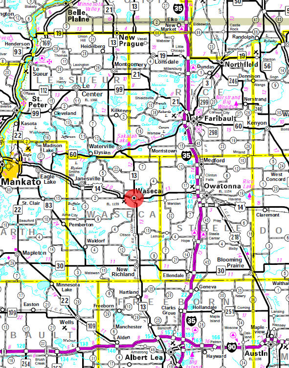 Minnesota State Highway Map of the Waseca Minnesota area