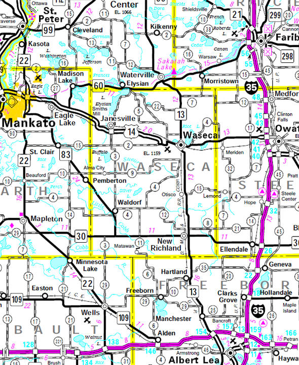 Minnesota State Highway Map of the Waseca County Minnesota area