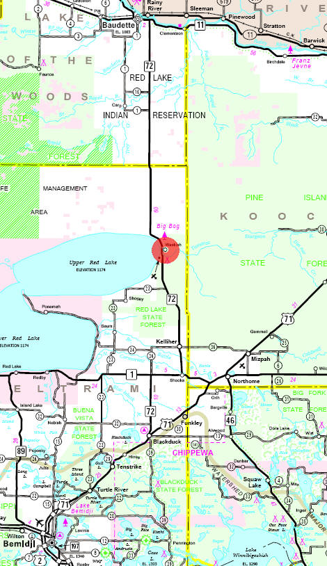 Minnesota State Highway Map of the Waskish Minnesota area