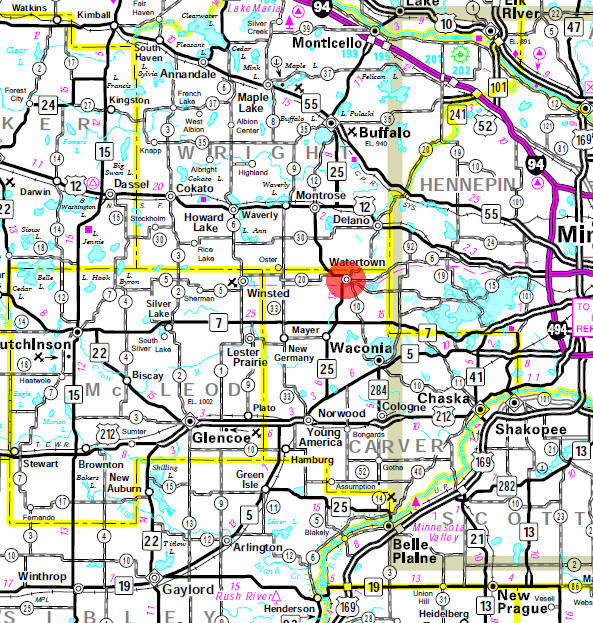 Minnesota State Highway Map of the Watertown Minnesota area