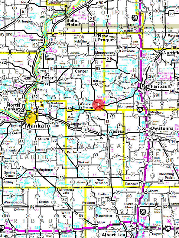 Minnesota State Highway Map of the Waterville Minnesota area