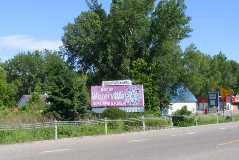 Welcome sign, Waterville Minnesota, 2010