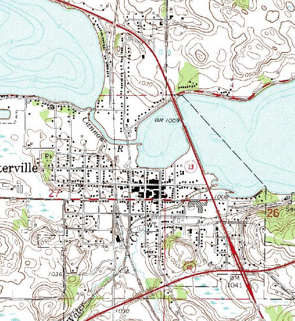 Topographic map of the Waterville Minnesota area