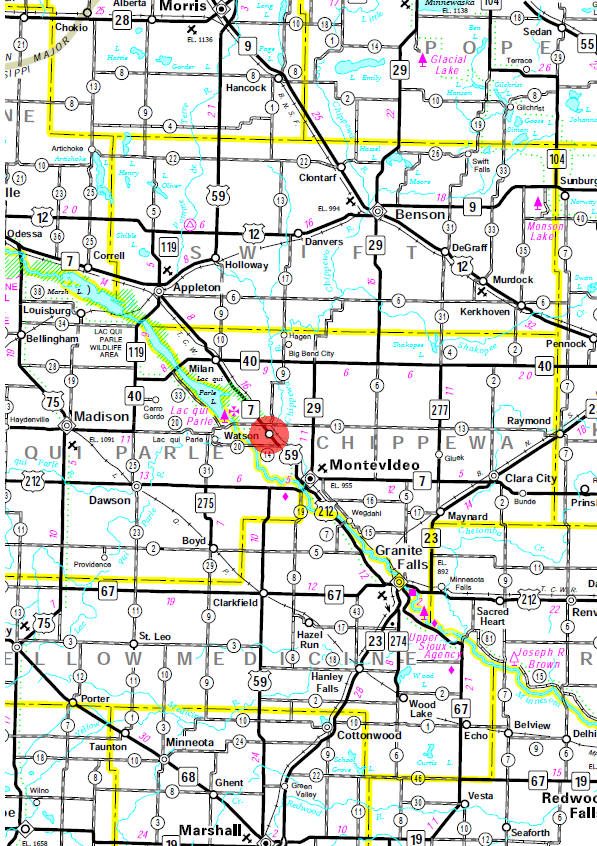 Minnesota State Highway Map of the Watson Minnesota area