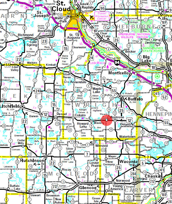 Minnesota State Highway Map of the Waverly Minnesota area