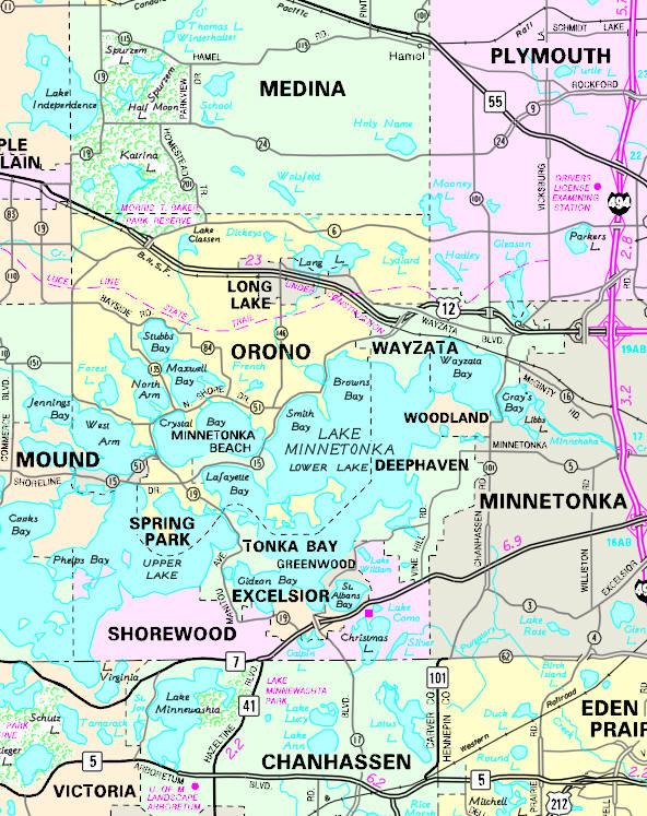 Minnesota State Highway Map of the Wayzata Minnesota area