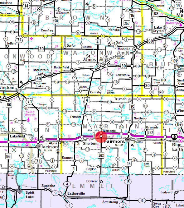 Minnesota State Highway Map of the Welcome Minnesota area