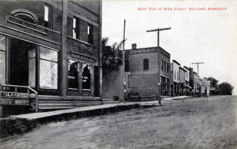 West side of Main Street, Welcome Minnesota, 1908