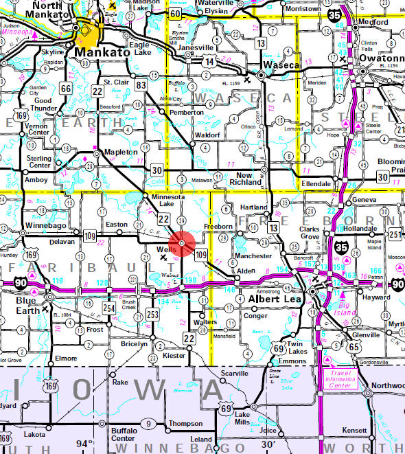 Minnesota State Highway Map of the Wells Minnesota area