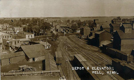 Depot and Elevator, Wells Minnesota, 1910's