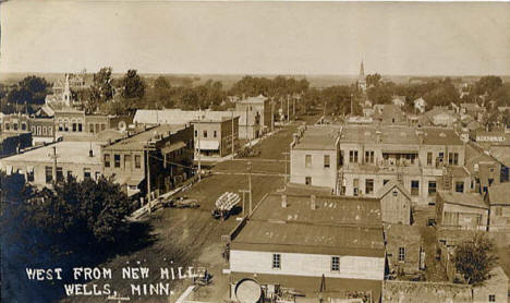 View looking west from the New Mill, Wells Minnesota, 1910