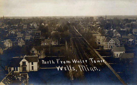 Looking north from the Water Tower, Wells Minnesota, 1910's