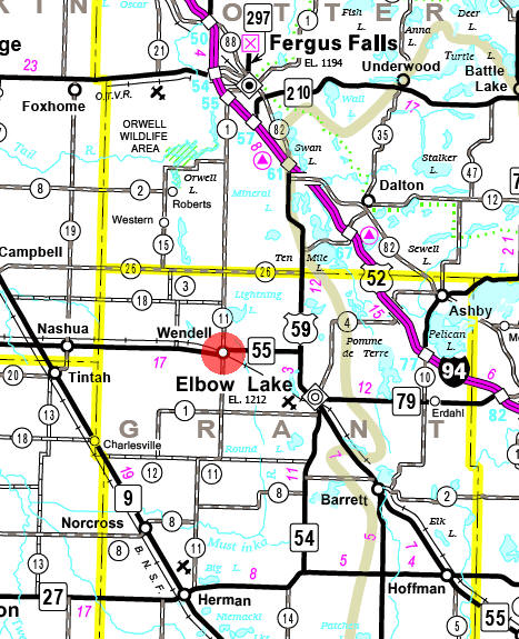 Minnesota State Highway Map of the Wendell Minnesota area