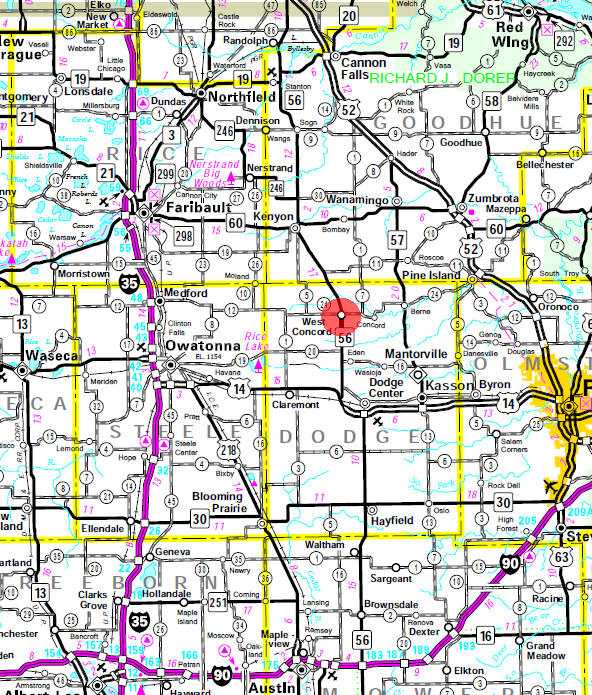 Minnesota State Highway Map of the West Concord Minnesota area