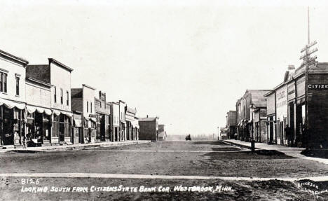 Looking south from Citizens State Bank corner, Westbrook Minnesota, 1910's?