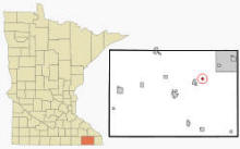 Location of Whalan, Minnesota