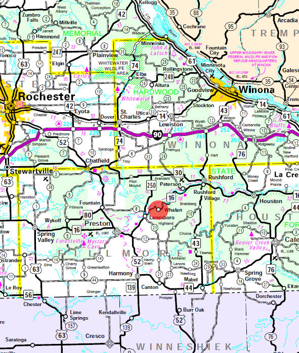Minnesota State Highway Map of the Whalan Minnesota area