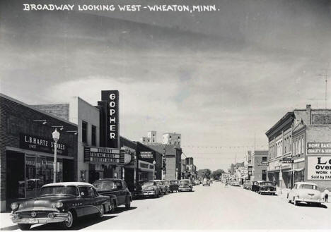 Broadway looking west, Wheaton Minnesota, 1956
