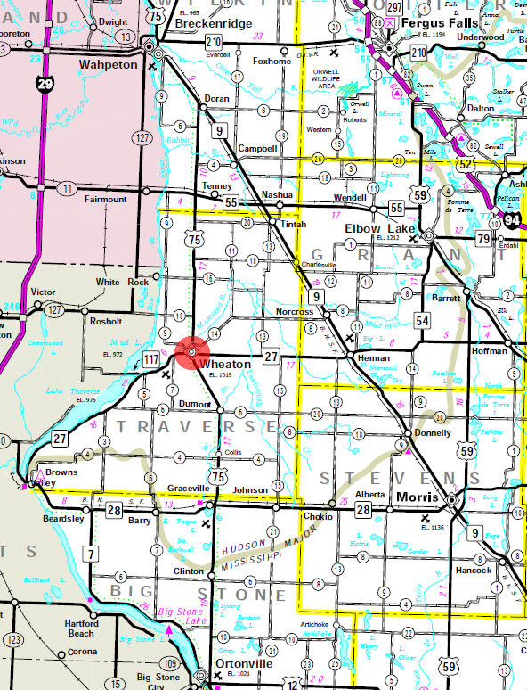 Minnesota State Highway Map of the Wheaton Minnesota area