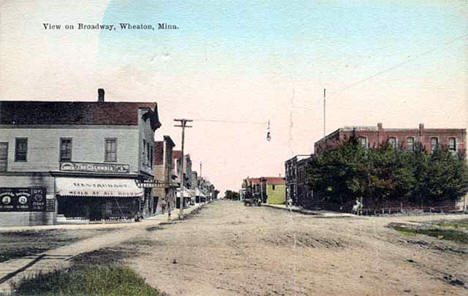 View on Broadway, Wheaton Minnesota, 1908