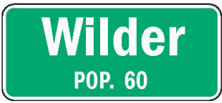 Wilder Minnesota population sign