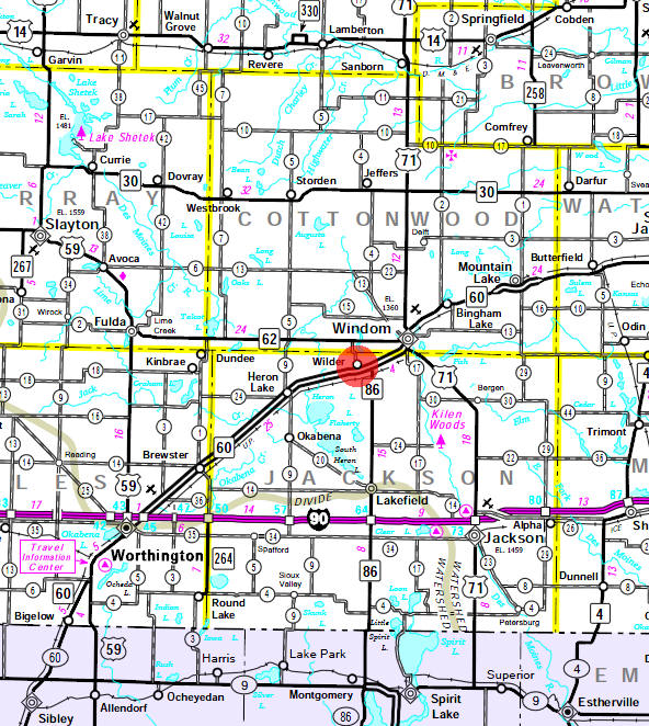 Minnesota State Highway Map of the Wilder Minnesota area